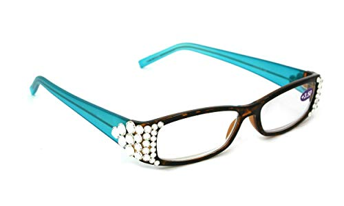 All Favorite, Square Crystal Clear Bling Swarovski Bling Reading Glasses. Brown Tortoise and Translucent Blue, Green or Rose +1.50 to +3.00 and +3.50 +4.00 +4.50 +5.00 +6.00 Strong Magnification