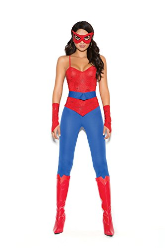 Mary Jane Costumes Spiderman (Female Spider Super Hero Halloween Roleplay Costume 5pc Set (XL, Red/Blue))