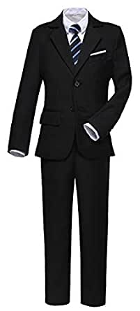 Suit for Boys Kids Suits Slim Fit Tuxedo Blazer Vest Pants Shirt and Tie Black Size 2T