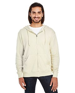 Threadfast Apparel Unisex Triblend French Terry Full-Zip XL Cream (Full Zip Terry Shirt)