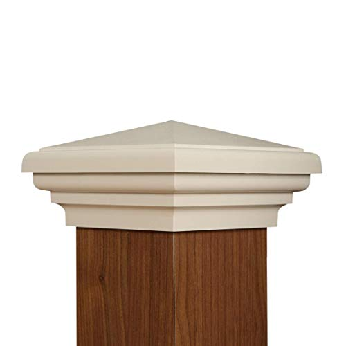 (4x4 Post Cap | White New England Pyramid Style Square Top for Outdoor Fences, Mailboxes and Decks, by Atlanta Post Caps )