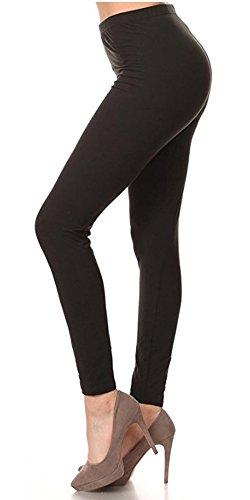 Moda Age Women's Designer Printed Leggings, Tapered, Full-Length Stretch Pants (Solid Black)