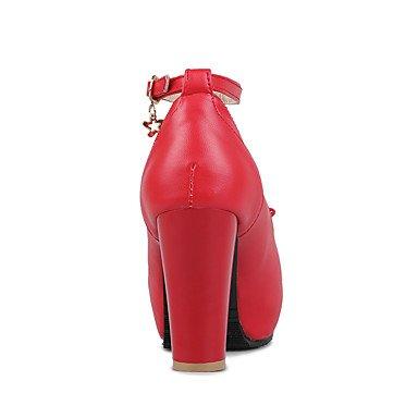 LvYuan Mujer Sandalias Semicuero Primavera Verano Pajarita Tacón Robusto Blanco Negro Rojo Rosa Plano ruby