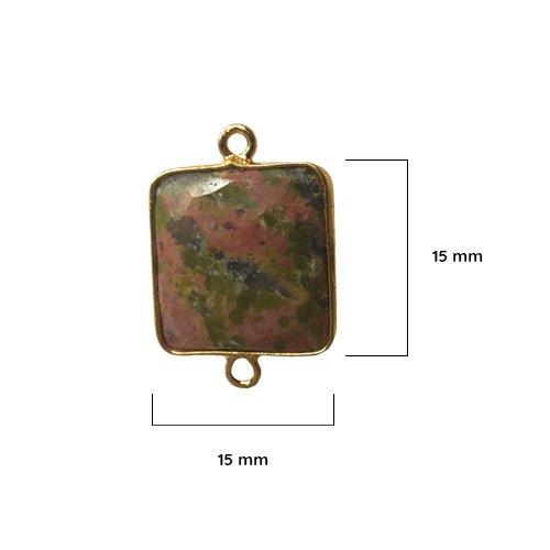 Unakite - Unakite Stone - Unakite Square 15 mm Gold Bezel Double Loop - Bezel Gemstone Connectors - Bezel Square - Bezel Gold
