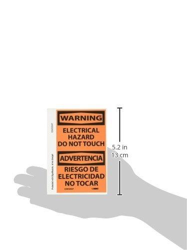 Black On Orange NMC ESW500AP Bilingual OSHA Sign Pack of 5 Legend WARNING Pressure Sensitive Adhesive Vinyl ELECTRICAL HAZARD DO NOT TOUCH 3 Length x 5 Height