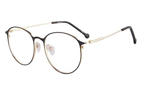 SHINU Metal Blue Light Blocking Reading Glasses Round Frame-RATL701(C4-1,+1.50)