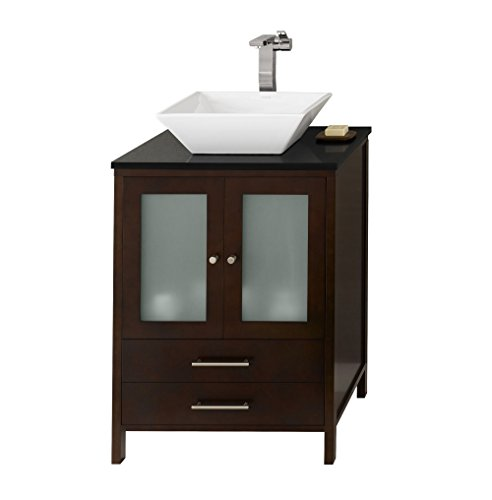 RONBOW Juno 25 inch Bathroom Vanity Set in Dark Cherry, Bathroom Vanity with Top in Black, Bathroom Vanity Cabinet with Frosted Glass and Cabinet Drawer, White Ceramic Vessel Sink 039224-1-H01_Kit_1