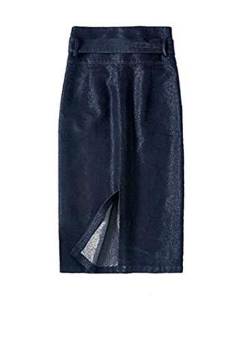 C & H Denim Bodycon Automne Femmes / Hiver De Grande Hauteur Jupes Jean Fendus Bleu Marine