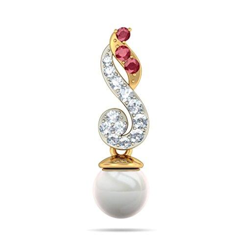 18K Or jaune 0,26CT TW White-diamond (IJ | SI) et rubis et blanc perle Boucles d'oreilles