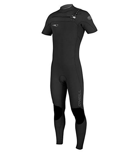 O'Neill Men's Hyperfreak 2mm Chest Zip Short Sleeve Full Wetsuit, Black/Black/Graphite, X-Large