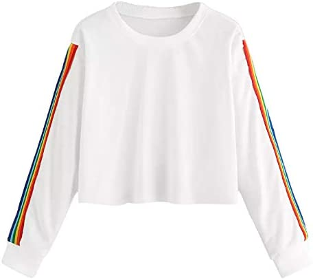 Women`s Rainbow Colorful Striped Sweatshirt Casual Long Sleeve Crew Neck T Shirt Blouse Tops / Women`s Rainbow Colorful Striped Sweatshirt Casual Long Sleeve Crew Neck T Shirt Blouse Tops