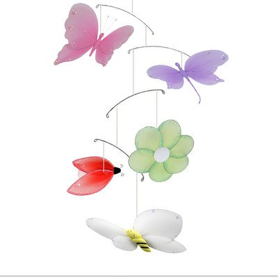 Jewel Butterfly Dragonfly Ladybug Flower Bee Nylon Hanging Mobile