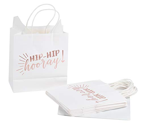 (Paper Gift Bags - 15-Pack Medium Sized Bags with Hip Hip Hooray in Rose Gold Foil, 9 x 8 x 4 Inches, Includes 20 Sheets of Wrapping Tissue)