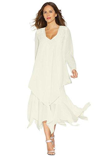 Hankie Hem Dress (Roamans Women's Plus Size Beaded Hankie Hem Fit & Flare Jacket Dress)