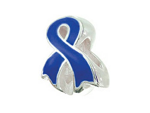 Sterling Ribbon Awareness Silver Bracelet (Zable Sterling Silver Awareness Ribbon Blue Pandora Compatible Bead/Charm)