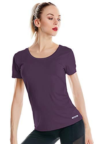 Women's Dri Fit U Neck Gym T Shirts Short Sleeve Tech Stretch Yoga Tops Running Shirts for Women (S/US 4-6, Dark Purple) (Dri Fit Short Sleeve Tee)