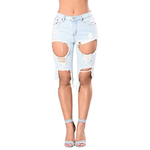 b1b1b5bea3 low-cost FISACE Women's Light Blue Ripped Hole Mid Waist Jeans Denim Shorts  Cropped Jeans