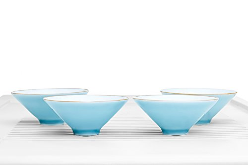 Tea Bowl Set of 4 Cups Summer Chawan No Handle Porcelain Teacups Chinese Teaware (sky blue, white)