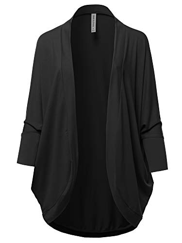 Premium 3/4 Sleeve Loose Cocoon Open Front Pocket Cardigan Black M (Cocoon Cardigan)