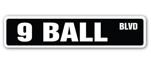 9 BALL Street Sign Decal Sticker billiards pool cue pooltable darts player playing parlor ()