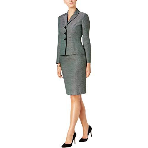 Le Suit Women's Petite Size Tweed 3 Button Skirt Suit, Emerald Multi, 14P
