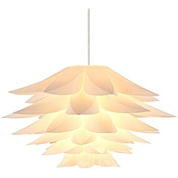 DIY Pendant Light Shades Kit Large Diameter 16.9 Inches Lampwin IQ Jigsaw Puzzle Ceiling Suspension Hanging Lamp Shade Lotus Flower for Chandelier Living ...