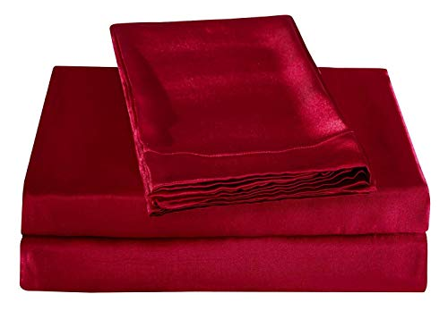 JUWENIN Silky Soft Solid Matte-Satin Bed Sheet Sets Shiny-Free,Deep Pocket (Full/Queen, Wine Red)
