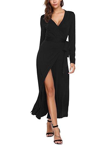 Beyove Longueur Cheville Tie-taille Manches Longues Fente Avant Col En V Femmes Robe Wrap Maxi Noir