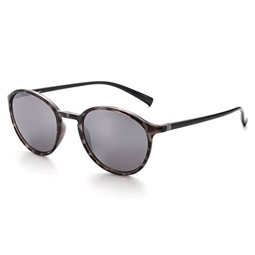 CAXMAN Fashion Vintage Inspired Round Sunglasses for Small Face Men Women, Tortoise Black DEMI Frame and Silver Mirror Lens, Size - Male Sunglasses Face Round