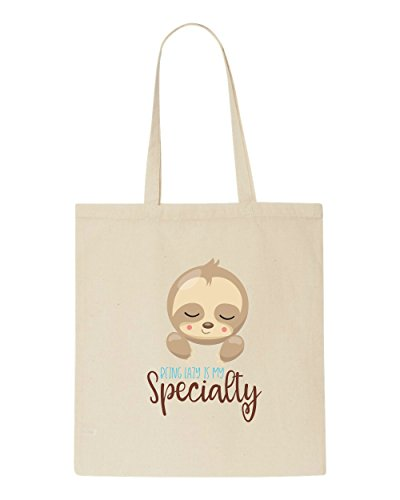Statement Tote Shopper Sloth My Specialty Is Beige Being Five Lazy Cute Bag pOHwxC7aq