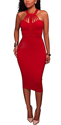 Yeshire Womens Sexy Halter Sleeveless Bodycon Zipper Party Midi Dress Clubwear X-Large Red