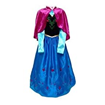 DISNEY STORE AUTHENTIC FROZEN ANNA COSTUME DRESSING UP OUTFIT FANCY DRESS - Size 7 - 8 years - With Velvet Cape, Satin Skirt and 3D Roses. RARE by Disney