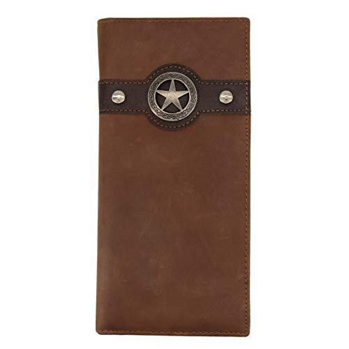 Western Cowboy Wallet for Men RFID Blocking Leather Bifold Tall Wallet Brown