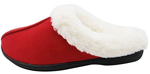 Luxehome Womens Cozy Fleece Plush House Slipper1-01 Red fJSZG