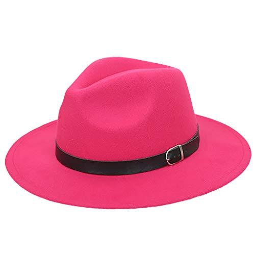 JESPER Women's Panama Hat Crushable Wool Felt Outback Hat Panama Hat Wide Brim with Belt Hot Pink -