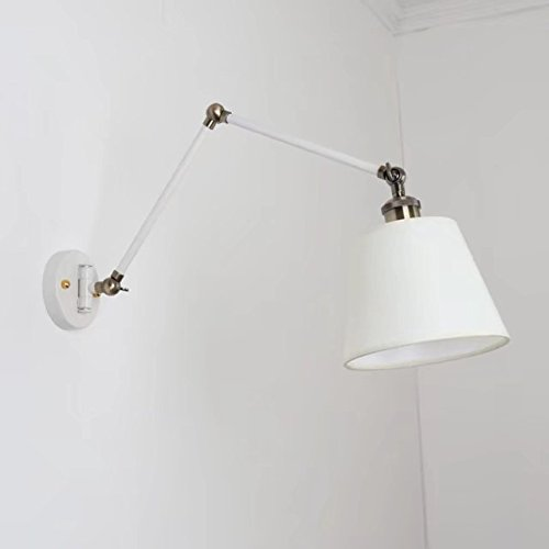 Modern Creative Wall Lamp Adjustable Swing Arm Wall Light White