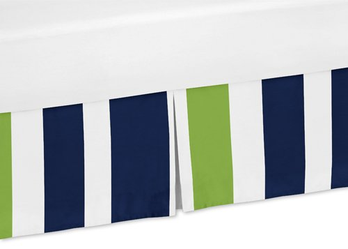 (Sweet Jojo Designs Navy Blue and Lime Green Crib Bed Skirt Dust Ruffle for Stripe Collection Bedding Sets )