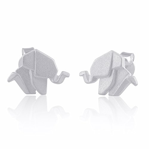 Sterling Silver Origami Elephant Stud - 12mm Origami Silver