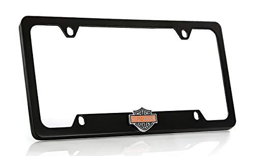 Harley Davidson Car Truck SUV License Plate Frame Black Metal - Harley Davidson Colored Bar & Shield Logo