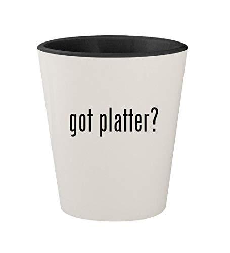 got platter? - Ceramic White Outer & Black Inner 1.5oz Shot Glass ()