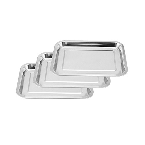 Tattoo Stainless Steel Tray, Youzone Non-Magnetic Stainless Steel Tattoo Tray Dental Medical Tray Piercing Instrument Tray Flat for Tattoo Supplies Tattoo Kits (3 Pack, 14.2'' X 10.6'')