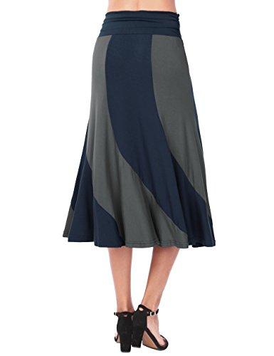 Haute DJT Taille Jupe Bleu Jupe Chic Fluide Vintage Rtro Longue Fonce Femme qItZrw4FI