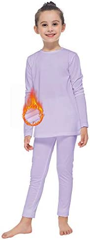 MANCYFIT Thermal Underwear for Girls Fleece Lined Long Johns Set Kids Base Layer Ultra Soft