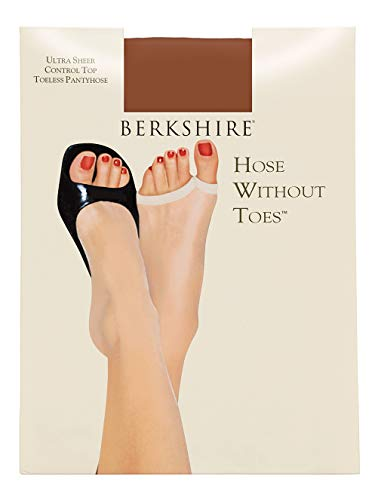 Berkshire Women's Hose Without Toes Ultra Sheer Control Top Pantyhose, French Coffee, 3 ()