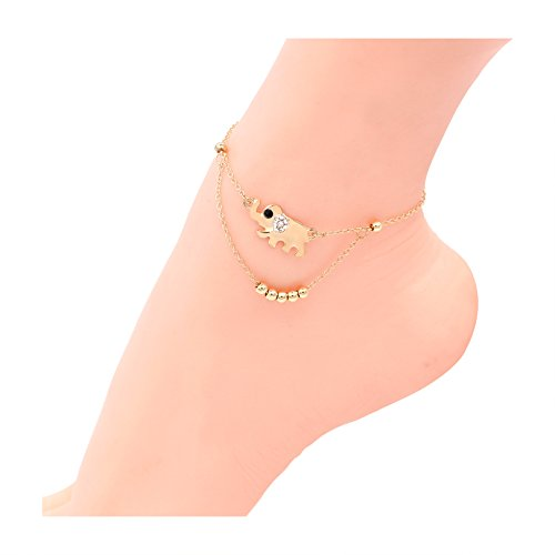 Hanloud Lucky Elephant Anklet Bracelet Gold Beads Animal Charm Anklet Double Chain Beach Foot Chain Jewelry For Women Girl