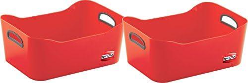 Nayasa Plain Passion 2 Piece Basket, Red