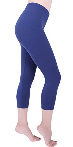 Women Cropped Yoga Workout Running Leggings Solid Color Basic Capris Ultra Soft Summer Breathable Cool Hot Pants-CL6 Navy Blue OS