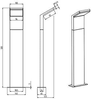 3er SET moderne LED Wegeleuchte für außen aus wetterfestem ALU in anthrazit, IP54, Höhe 50 cm