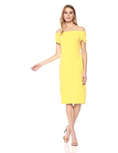 Donna Morgan De Crêpe De Femmes Au Large De La Robe Épaule Jaune Soleil