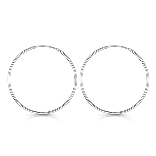 White Swan Costume Diy (Amberta 925 Sterling Silver Fine Circle Endless Hoops - Polished Round Sleeper Earrings Diameter Size: 20 30 40 60 80 mm (40mm))